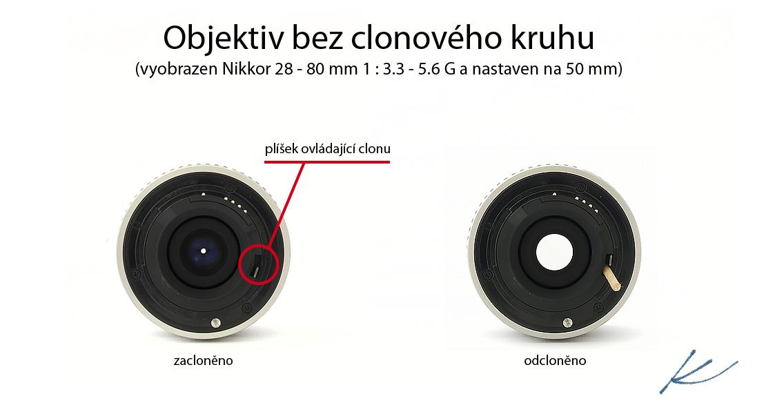 Objektiv bez clonového kruhu